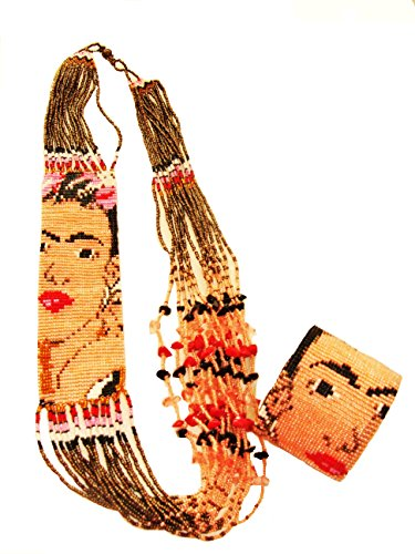 (Necklace and Cuff Magnetic Clasp Czech Bead Crystal Artisan Guatemala Beautiful Frida Kahlo Design Set)