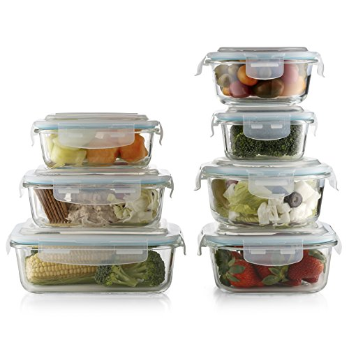 Prestee Premium 14-pc Glass Food Storage Set 7 Glass Bases And 7 Leak-Proof Airtight Snap Latch Plastic Lids - BPA Free - Oven Dishwasher Freezer And Microwave Safe. (Base Safe Glass)