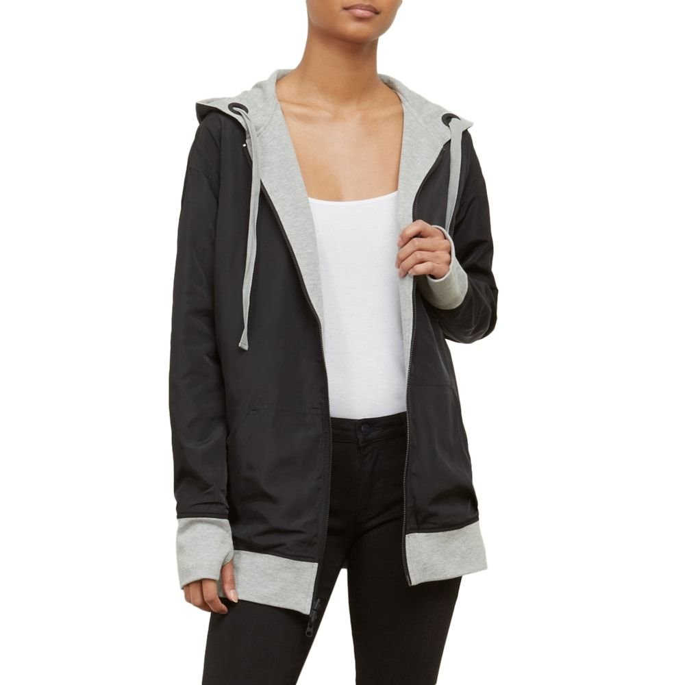 Kenneth Cole Women's Reversible Outerwear Hoodie, Heather Gray, XS