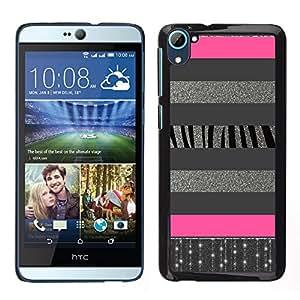 LECELL--Funda protectora / Cubierta / Piel For HTC Desire D826 -- Líneas de plata Modelo rosado --