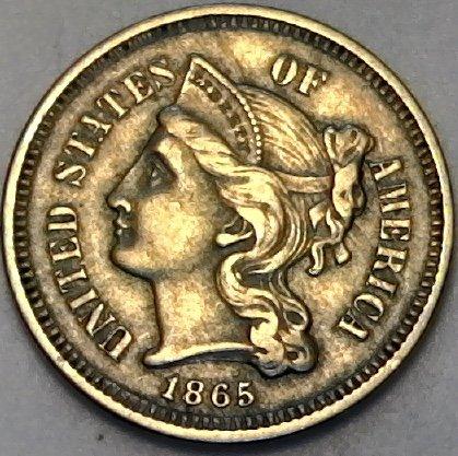 1865 P Silver Three Cent Civil War Era Three Cent Extremely Fine