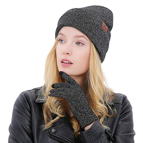 Maylisacc 2 Pcs Knitted Hats Texting Glove Set for Junior Slouch Beanie Women ()