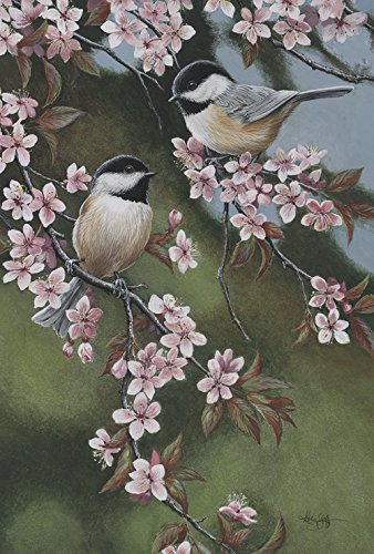 Toland Home Garden Forget Me Not Chickadees 28 x 40 Inch Decorative Spring Flower Bird Branch House Flag