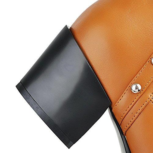 VogueZone009 Damen Ziehen auf Spitz Zehe Mittler Absatz Niedrig-Spitze Stiefel mit Rivet Set Braun