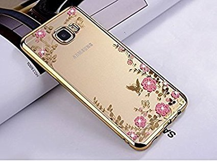 super popular a6c5a 5230f Loxxo Edition Case for Samsung ON 7 Prime - Shockproof Silicone Soft TPU  Transparent Auora Flower Case with Sparkle for Samsung ON 7 Prime Back  Cover ...