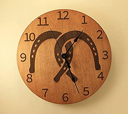 Amazoncom 105 inch Horseshoe clock Wood clock Wall clock Wooden