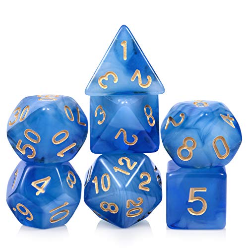 Nebula Blue DND Dice Set,7 Dies Polyhedral Game Dice with Free Pounch for Dungeons and Dragons Table Games Roll Playing Game Dice Collector