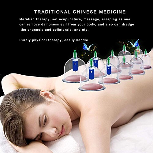 Professional Chinese Cupping Therapy Set, Biomagnetic Vacuum Cupping Massage Kit with 12 Cups and 1 Pumping Handle for Muscle Soreness, Trigger Point & Pain Relief, Cellulite, Swelling by COLOR CLEANER (Image #4)