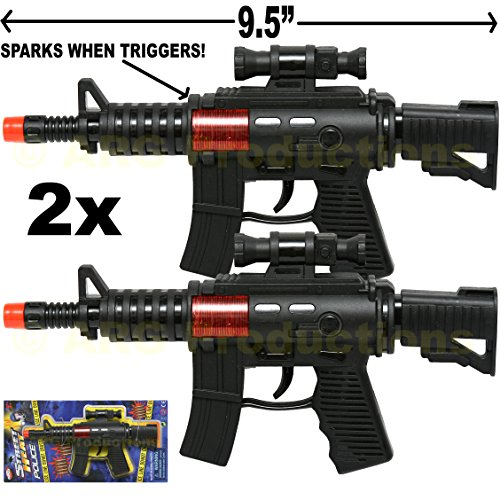 Set of 2 - Toy Police Assault Pistol Machine Gun Includes Sound