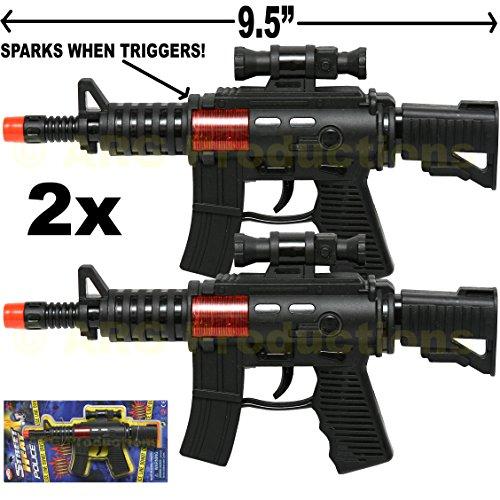 Assault Guns Machine (Set of 2 - Toy Police Assault Pistol Machine Gun Includes Sound Black)