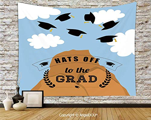 AngelDOU Graduation Decor Soft Fabric Durable Tapestry Wall Hanging Mountain Hill and Thrown Caps in Sky Conceptual Art Icons Hats Off Grad Decorative Wall Art Hippie Tapestry.W78.7xL59(inch)