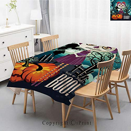 Print Series Rectangle Tablecloth Cotton and Linen Dust proof Absorption Table Cover for Photography Background Dining,55x79 Inch,Halloween,Cartoon Girl with Sugar Skull Makeup Retro Seasonal -