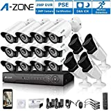 Cheap A-ZONE 16 CH 1080P DVR AHD Security Camera 16 System W/ 12x HD 960P 1.3MP Fixed Camera Home Surveillance System & 4X HD 1.3MP Varifocal Camera IR 2.8-12mm Lens Camera-Including 2TB HDD
