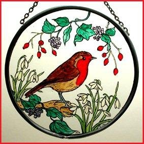 Decorative Hand Painted Stained Glass Window Sun Catcher/Roundel in a Robin in Snowdrops Design Robinandsnowdropsround