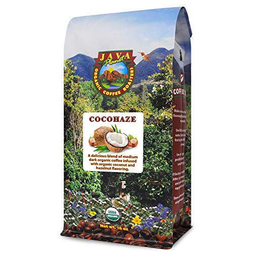Java Planet – Coconut and Hazelnut Flavored Organic Coffee Beans infused with Organic Flavoring, Fair Trade, Medium Dark Roast, Arabica Gourmet Coffee Grade A, packaged in 1 LB bag
