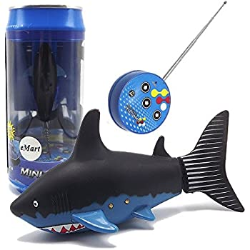 eMart Mini Remote Control Toy Electric RC Fish Boat Shark Swim in Water for Kids Gift - Black