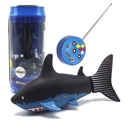 eMart Mini Remote Control Toy Electric RC Fish Boat Shark Swim in Water for Kids Gift -