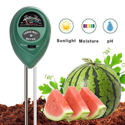 SUNNIOR Soil PH Meter, 3-In-1 Plant Soil Tester Kit With PH, Light & Moisture acidity Meter Tester Great Plants Care Tool for Farm, Lawn, Flowers, Vegetable Indoor/Outdoor (No Battery needed) by SUNNIOR