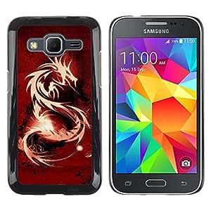 LECELL--Funda protectora / Cubierta / Piel For Samsung Galaxy Core Prime -- Tribal Dragón Rojo --