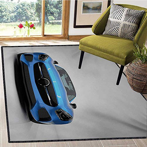 (Teen Room, Area Rug Girls Room, Modern Blue Sports Car Power Prestige Speed Fast Vehicle Automobile Image, Girls Rooms Kids Rooms Nursery Decor Mats 5x6 Ft Blue Black Grey)