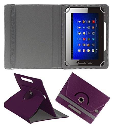 Acm Rotating Leather Flip Case Compatible with Micromax Funbook P300 Cover Stand Purple