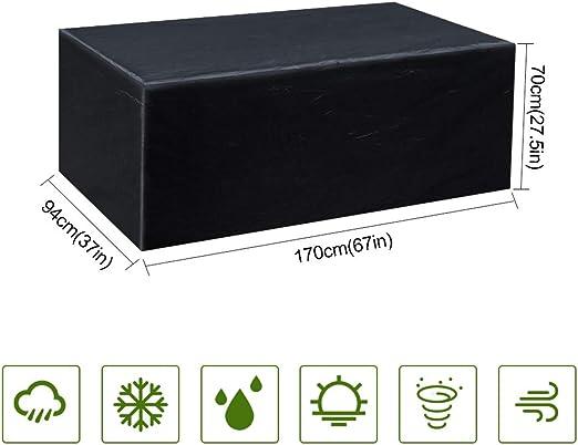 Gurkkst Funda Protectora para Muebles de jardín Funda Muebles Exterior Impermeable Anti-UV Protección Cubierta de Muebles de Mesas Oxford Negro (170x 94x 70cm): Amazon.es: Jardín