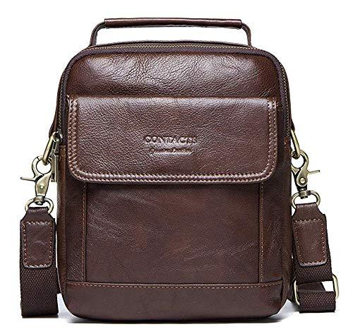 HIRAM Mens Genuine Leather Men Messenger Crossbody Shoulder Bag-Coffee
