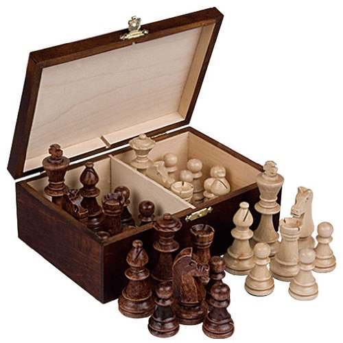Wood Chess Pieces - Staunton No. 6 Tournament Chess Pieces in Wooden Box, 3.9-Inch King