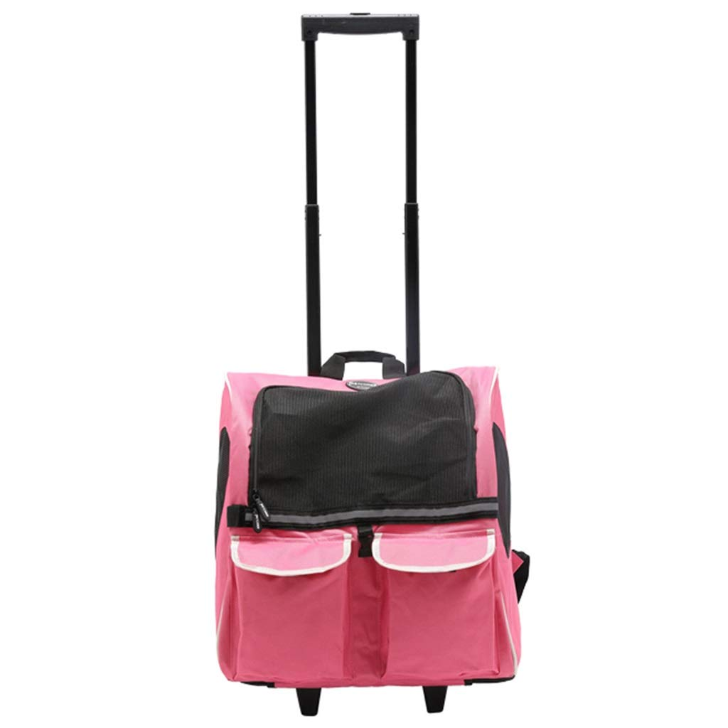 Pink Pet Portable Rolling Carrier Travel Backpack Wheel Safety Strap Dog and Cats Tote Airline Approved (Pets up to 11 Pounds)