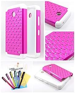 Thousand Eight(TM) For Nokia lumia 635, Nokia lumia 630 Diamond Studded Silicone Rubber Skin Hard Case + [Screen Protector Shield(Ultra Clear)+Thousand Eight(TM)Touch Screen Stylus] (Diamond hot pink)