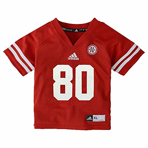 adidas Nebraska Cornhuskers NCAA Toddler Red Official Home #80 Football Jersey (2T)