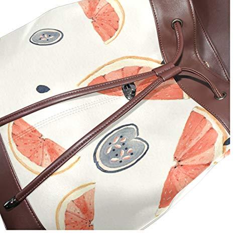 Stygg orange mönster ryggsäck handväska mode PU-läder ryggsäck ledig ryggsäck för kvinnor