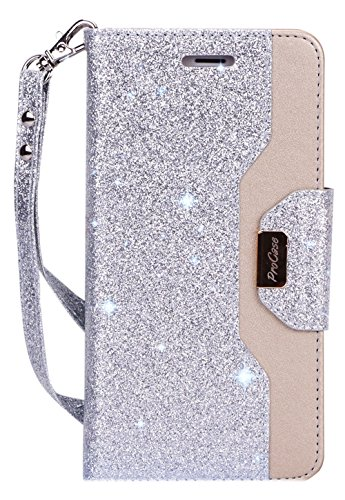 iPhone 8 Plus Case, 7 Plus Wallet Case, ProCase Flip Fold Folio Case Stylish Slim Stand Cover with Wallet Case for Apple iPhone 8 Plus 7 Plus -Glitter Silver