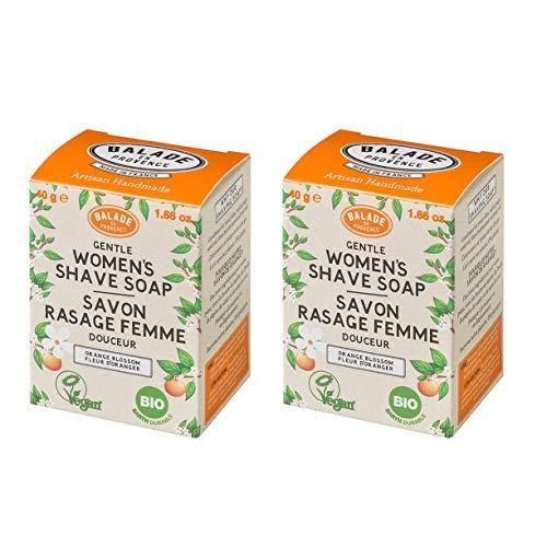 Balade En Provence Women?s Handmade Organic Gentle Shaving Soap, Orange Flower – Long Lasting Nourishing Shea Butter…