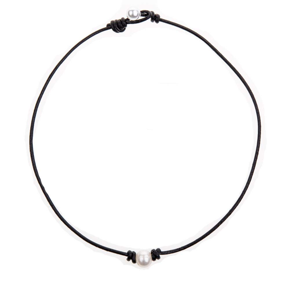 Bodai Handmade Genuine Leather Choker Necklace for Women Freshwater Pearl Jewelry pearl) CCPN020