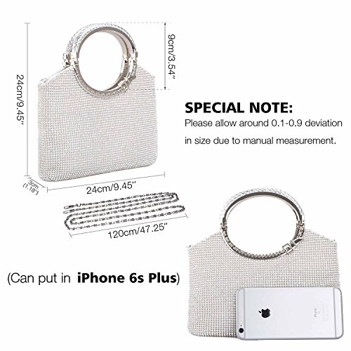 Crystal Handbag Clutch Womens Evening Wedding Clutch Party Purses Bags Silver Kisschic Rhinestone 5qESOzxwHS
