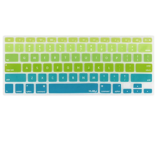 Kuzy Green/Aqua Ombre Colors Keyboard Cover Silicone Skin for MacBook Pro 13 15 17 (with or w/out Retina Display) iMac and MacBook Air 13 - mix Green/Aqua Ombre