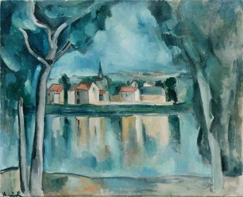 Oil Painting 'Town On The Bank Of A Lake,1909 By Maurice De Vlaminck' 16 x 20 inch / 41 x 50 cm , on High Definition HD canvas prints is for Gifts And Basement, Gym And Nursery Decoration