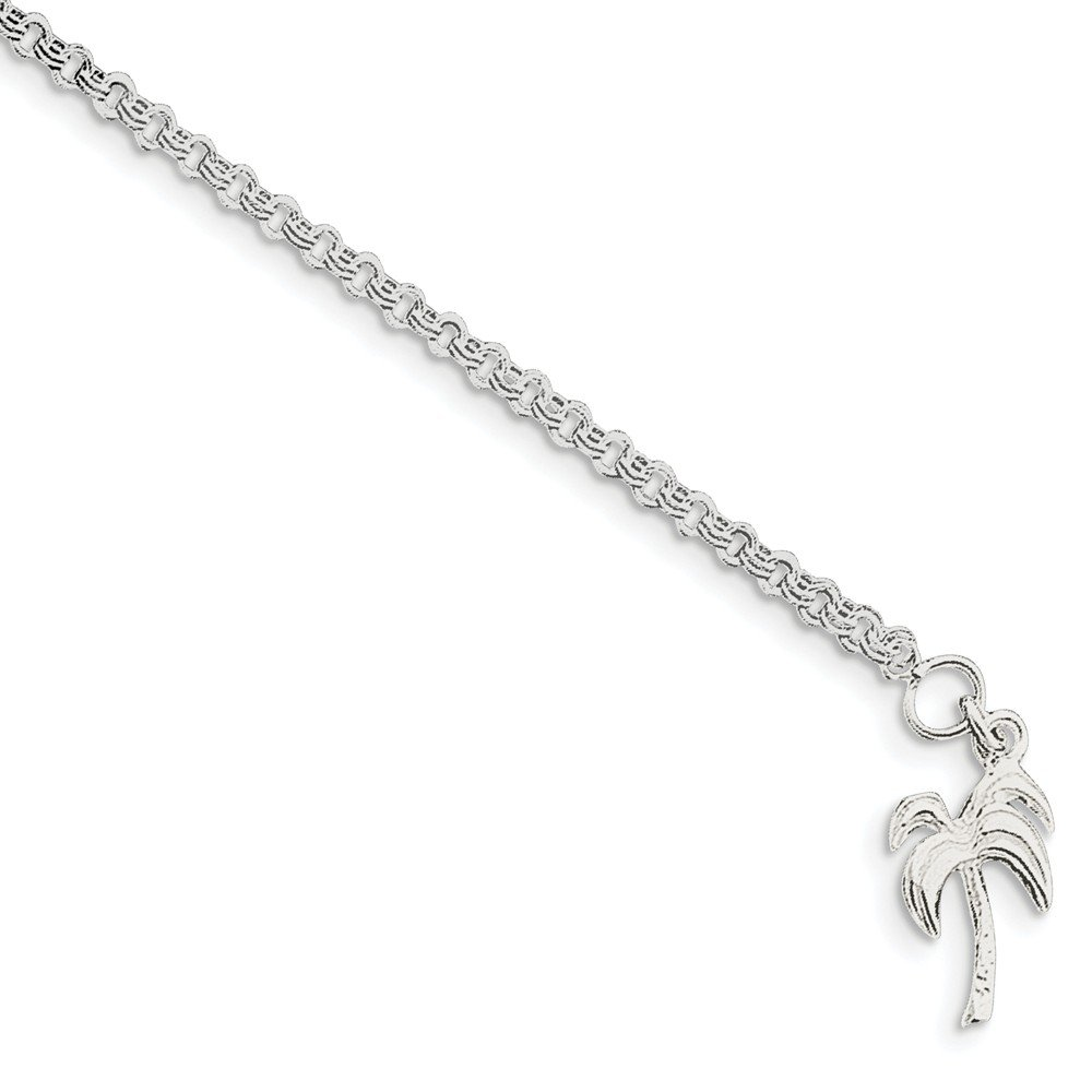 Solid .925 Sterling Silver 10inch Solid Polished Palm Tree Anklet 10 inches