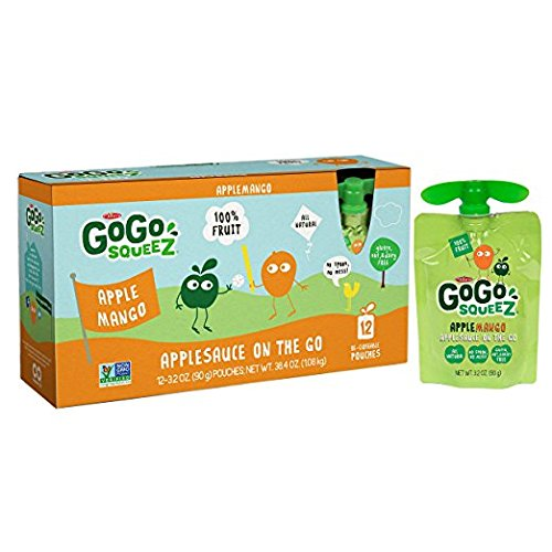 GoGo squeeZ Applesauce on the Go, Apple Mango, 3.2 Ounce Portable BPA-Free Pouches, Gluten-Free, 12 Total Pouches by GoGo SqueeZ