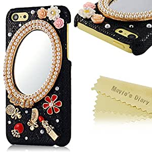 Mavis's Diary New 3D Handmade Crystal Mirror Diamond Flowers Bling Black Cover Hard Case for iPhone 5c with Soft Clean Cloth