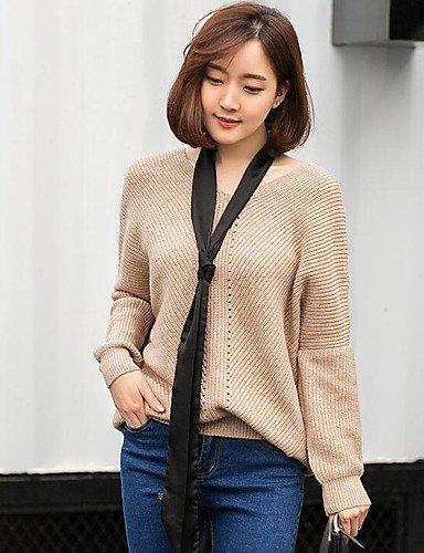BaiChunYunYi Damen Standard Pullover-Lässig Alltäglich Einfach Solide V-Ausschnitt Langarm Baumwolle Frühling Herbst Mittel Mikro-elastisch