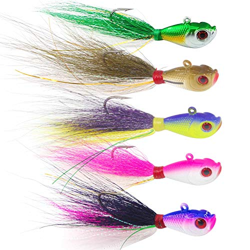 SILANON Fishing Lures Bucktail Jig Fluke - 5PCS Fishing Baits Kit Assorted Jig Surf Fishing for Black Bass, Ling Cod, Bluefish and Sharks Saltwater Freshwater 1oz