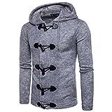 HTHJSCO Hooded Sweatshirt, Men's Autumn Winter Fashion Men Slim Designed Hooded Top Cardigan Coat Jacket (Gray, M)