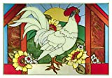 Rooster Horizontal Art Glass Panel 14 x 20