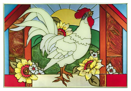 Rooster Horizontal Art Glass Panel 14 x (Rooster Wall Hanging)
