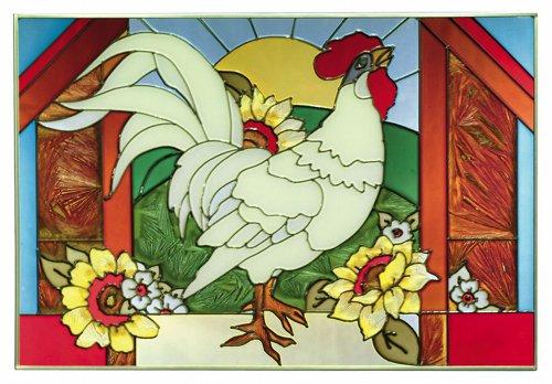 Keegan's Korner Rooster Horizontal Art Glass Panel 14 x 20