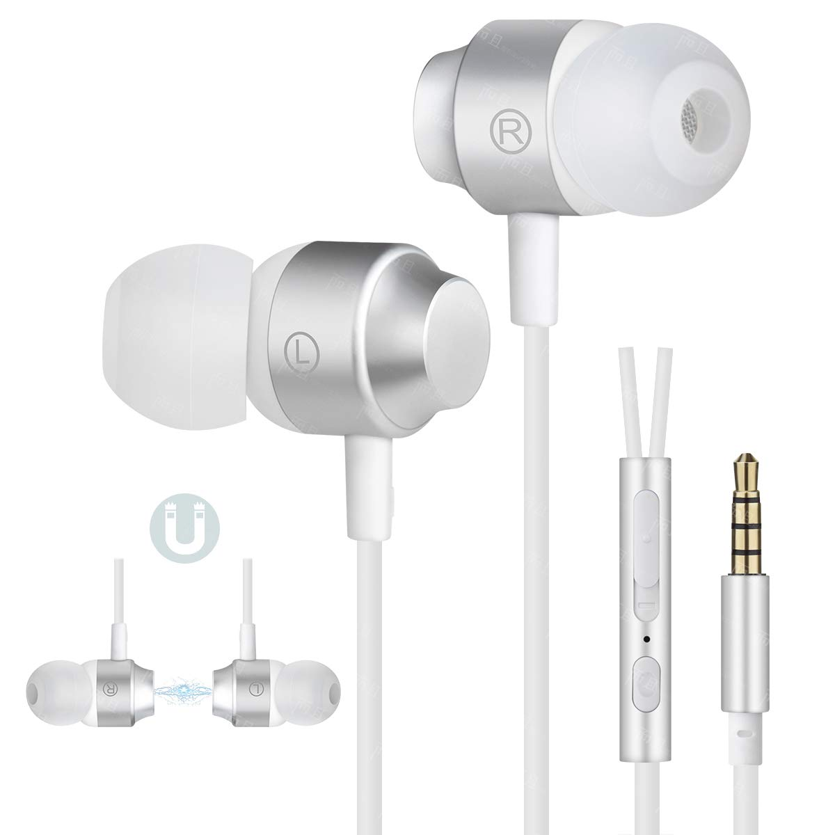 Earbuds Ear Buds Stereo Earphones in-Ear Headphones Earbuds with Microphone Mic and Volume Control Noise Isolating 3.5MM Wired Ear Buds Compatible Android Phone Tablet Laptop