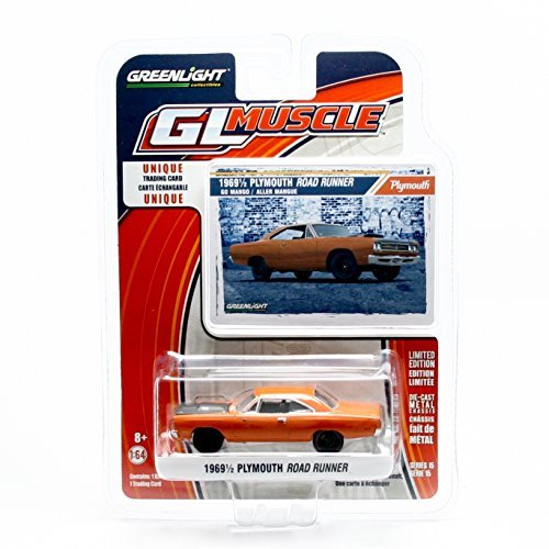 (GL Muscle 1969½ Plymouth Road Runner (Go Mango) Series 15 Greenlight Collectibles 2016 Limited Edition 1:64 Scale Die-Cast Vehicle & Collector Trading Card)