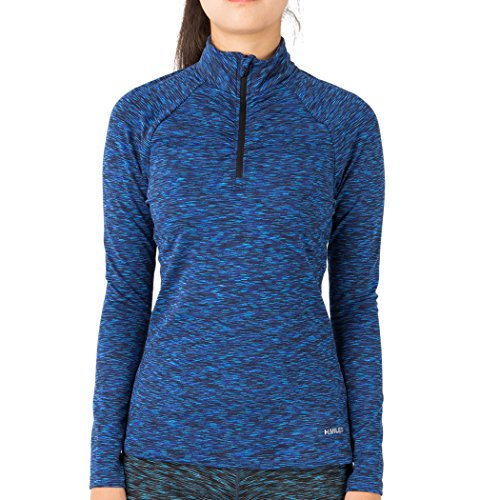 (H.MILES Women's Half Zip Dry Fit Workout Track Jacket Long Sleeve Pullover Athletic Yoga Running Top S-XXL Dark Blue S)